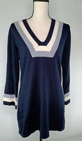 Tory Burch Women's Size Medium Merino Wool Long Sleeve Navy Blue Tops 2305