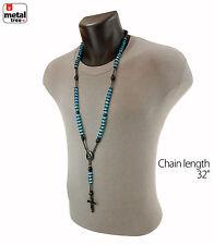 Men's 8mm Aqua Blue Bead Bk Plated Rosary Pray Hand & Jesus Cross Necklace BKAQ