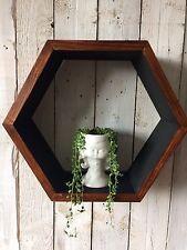 1 HEXAGON GEO SHELF RETRO SCANDI TEAK WALL DISPLAY ART PLANT ORIGINAL GIFT.