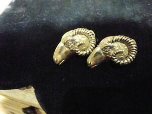 Vintage Gold Tone Swank Rams Head Aries Strength Courageous Confident Cufflinks