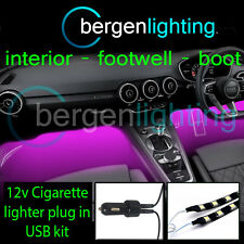2X 300MM PINK USB 12V LIGHTER INTERIOR KIT 12V SMD5050 DRL MOOD LIGHTING STRIPS