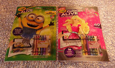 Barbie Minions Set of 2 Crayola Color Alive Action Coloring Pages Books New