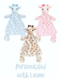 Baby Comforter Personalised Blankie Giraffe Toy Gift CE Blue Pink Beige Keel Toy