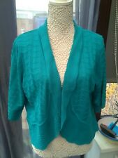 Bonmarche Teal Green Shrug No Button Cardigan Short Sleeve Size Large 2224