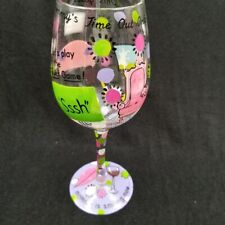 Lolita Hand Painted Mudpie Love My Wine Glass Mommy's Time Out 15 oz Party Gift
