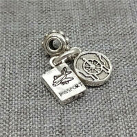 925 Sterling Silver Passport Airplane Dangle Charm for Necklace Bracelet