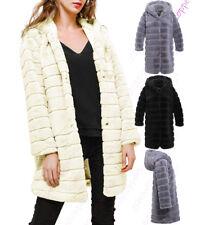 Womens Thick Faux Fur Coat Black Grey Cream Long Jacket Size 8 10 12 14