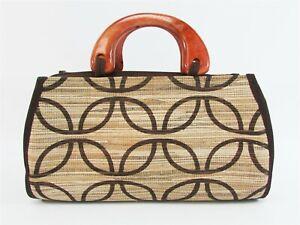 "Bamboo Straw Purse Handbag w/zipper Wood Handle Bag Brown/Tan Indonesia 10.5x6"""