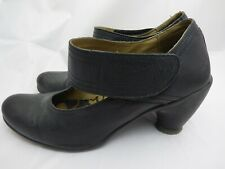 Womens Fly London Heels Mary Janes Black Leather Shoes Strap EU 38 UK 5 or 5.5