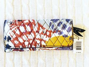 Vera Bradley Trifold Wallet Painted Feathers Large Cotton Magnetic NWT MSRP $42