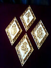 VINTAGE SET OF 4 GOLD WHITE DIAMOND WALL PLAQUES KEY LOCK HOLLYWOOD REGENCY MCM