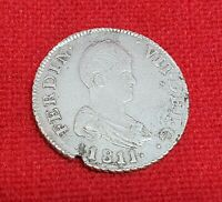 SCARCE 1811 CATALONIA -SF-  2 REAL FERDINAND VII SPAIN SPANISH SILVER COIN