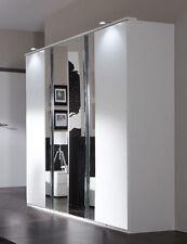 SlumberHaus German Modern Davos White Chrome Mirror 4 Door 180cm Wardrobe