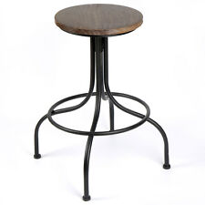 Adjustable Elegant Vintage Iron & Wood Bar Stool Seat for Garden Living Room