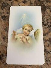 Beautiful religious card. Baby Jesus is born