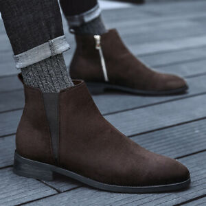 Mens Suede Leather Pointed toe Side Zip Chelsea Boots Casual Shoes Ankle Boots