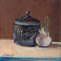 "Garlic and metalic round box Still Life Oil painting 8x8""  Realism FREE Shipping"