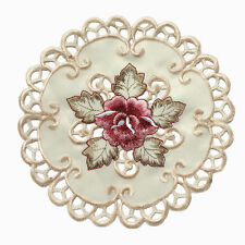 Yazi Embroidery Satin Tablecloth BEDSTAND Doily Table Cloth Runner Cover Gift 30cm Round Placemat