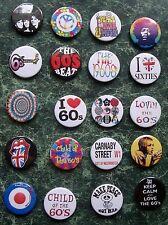"The 60s 20 X 1"" Button Badges Fancy Dress Retro Vintage 1960 Stones Eighties"