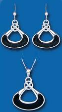 Onix Colgante y Juego De Pendientes Plata Maciza Diseño Elegante