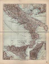 Landkarte map 1912: ITALIEN SÜDLICHE HÄLFTE. Palermo. Ätna. Neapel Messina