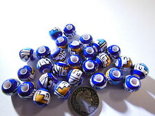 3 Peruvian 10mm Hand Painted colorful Round Beads