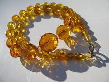 VINTAGE MULTI FACET VIVID CITRINE AMBER GLASS GRADUATING BEADS NECKLACE 41.9 GR