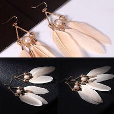 Bohemian Boho Style Ethnic Pearl Long Feather Drop Dangle Earrings Jewelry  AU