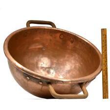 Antique Copper Pot 5-Gal/20-L Apple Butter Kettle c.19th Cauldron 2-Iron Handles