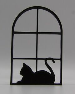 Cat in 2x3 Window  Home Ornament 15x9.75x1.5cm - Various Colours