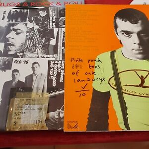 🔥 SIGNED PLUS 1978 concert ticket First Press. Ian Dury New Boots And Panties