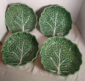 "Set of 4 Green Cabbage Leaf Bowls Olfaire Portugal Bordallo Pinheiro 8 1/2"""