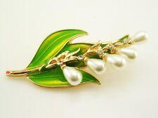 "Joan Rivers Faux Pearl & Crystal Leaf Brooch   2 3/8"""