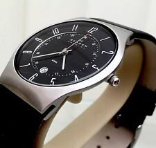SKAGEN Mens Gents BLACK LEATHER Watch SLIM Lightweight  RRP £180  (p62