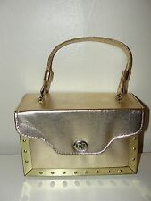 VINTAGE 50s-60s*GOLD METALLIC FAUX LEATHER & STUDDED METAL BOX BAG CLUTCH PURSE