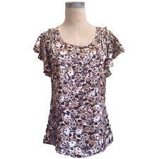 Banana Republic XS Floral Print Silk Blouse Brown Beige Short Flutter Sleeves