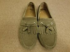 Jimmy Choo Men Olive Brown Suede Kiltie Tassel Driving Loafers Shoes Size 41.5