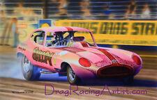 """Sheldon Konblett's """"Snoopy"""" Jaguar FC. Drag Racing Art by David Carl Peters"""