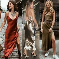 Womens Silky Slit Maxi Dress Long Sparkle Party Prom Ball Wedding Street Casual