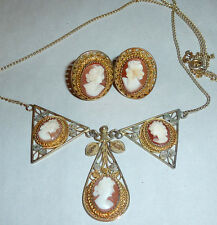 Vintage 1920's carved Shell Cameo Necklace 800 Silver Filigree Demi Parure