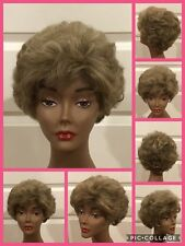 Adolfo Wig Synthetic Short Layered Curly Dark Blond Frosted Light Blond (D-1054)