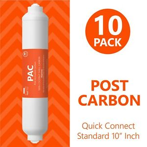 10 Pack Inline Coconut Carbon Quick Connect Water Post Filter Reverse Osmosis