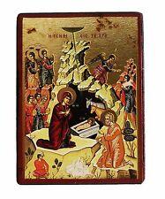 Greek Russian Orthodox Lithography Icon Nativity of Christ 9x7cm mdf