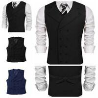 Men's Suit Vest V-Neck Double Breasted Work Sleeveless Business Dress Waistcoat