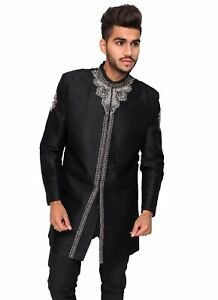 Black Silk Sherwani with Silver-sizes 36-44 -Formal Mens Indian Bollywood Jacket