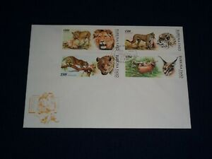1996 Burkina Faso Carnivorous Animals Big Cats Cheetah Lynx Panther Lion FDC