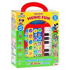 New Disney My 1st Music Fun Portable Keyboard & 8 Book Library Plays 25 songs