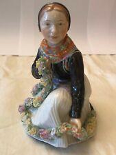 00004000 Very Rare: Royal Copenhagen Figurine of Amager Flower Girl #12412 - vintage