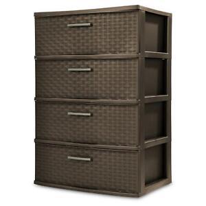 4 Shelves Plastic Drawer Wide Weave Tower Home Office Dorm Storage Organization
