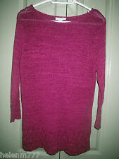 Designer Wombat Fushia S 10 Crochet Hem & Sleeves Long Sleeve Knit Top